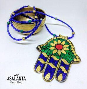 Blue Hamsa Necklace