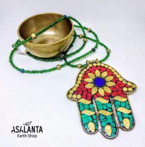 Green Hamsa Necklace