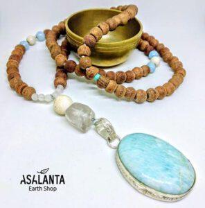 Amazonite Mala Necklace สร้อยคอ ประดับ จี้หิน อมาโซไนท์