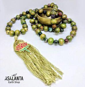 Green Jade Lotus Mala Necklace