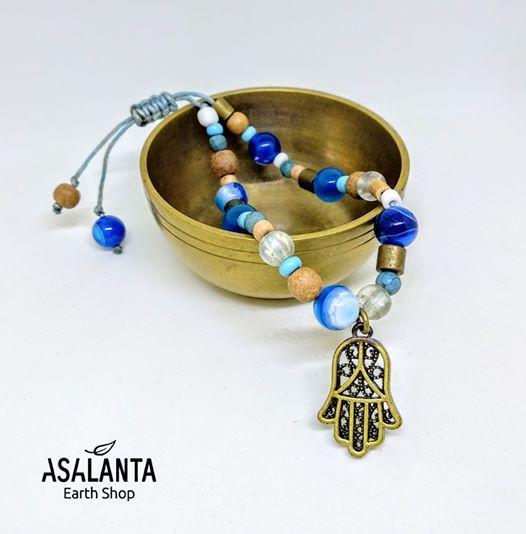 Blue Hamsa Mala Bracelet